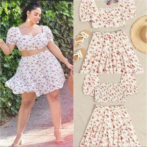 Plus Size Floral Top & Ruffle Hem Skirt Set